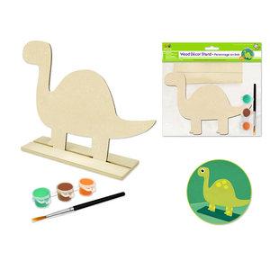 MultiCraft . MCI Krafty Kids Kit: 18x15cm DIY Wood Stand-Ups w/3 Paint Pots+Brush C) Dinosaur