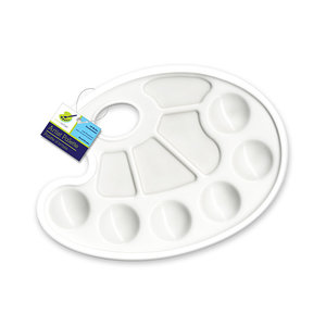 """MultiCraft . MCI Color Factory Paint Palette: 9""""x7"""" Plastic Oval 10-Well w/Thumbhole"""