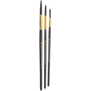 Plaid (crafts) . PLD FolkArt Painting Tool Lettering Brush Set 3/Pkg 3mm, 4mm & 6mm