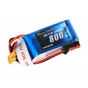 GENS ACE . GNA Gens Ace - 006 - 800mAh 3S1P 11.1V 40C LiPo JST Plug Soft Case 52x30x23mm