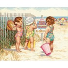 Dimensions . DMS Beach Babies -  Cross Stitch Beach Nature Summer Calgary