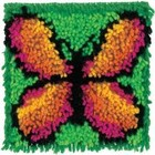Caron . CAR Green Butterfly Latch Hook Calgary Insect Cartoon Rug