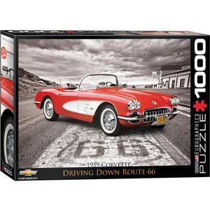 Eurographics Puzzles . EGP 1959 Corvette Route 66 - 1000pc Puzzle