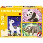 Schmidt Spiele . SSG Schmidt Puzzles 3x24 Panda, Llama, Sloth Calgary Animals