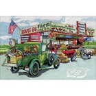 "Design Works . DWK Counted Cross Stitch Kit 15""X22"" Route 66 Cartoon Calgary"