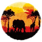 """Vervaco . VVC Shaped Rug Latch Hook Kit 22"""" Round African Sunset Animals Nature Calgary"""