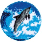 """Vervaco . VVC Shaped Rug Latch Hook Kit 22"""" Round - Dolphin Nature Animals Calgary"""