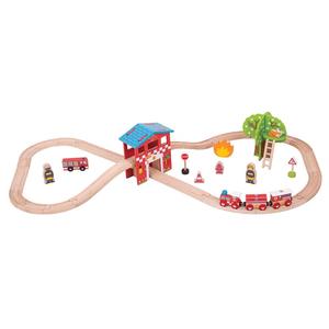 Big Jigs Toys Ltd. . BJT Fire Station Train Set