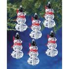 "Beadery . BDR Holiday Beaded Ornament Kit Faceted Elegant Snowmen 2""X1"" Makes 12"