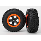 """Traxxas Corp . TRA Traxxas Tires & Wheels, Assembled, Glued ( Compound) (Sct, Black, Orange Beadlock Wheels, Dual Profile (2.2"""" Outer, 3.0"""" Inner), Sct Off-Road Racing Tires, Foam Inserts) (2) (4wd F/R, 2wd Rear) (TSM Rated)"""