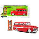"Jada Toys . JAD Jada 1/24 ""Just Trucks"" 1957 Chevy Suburban w/ Extra Wheels Red"