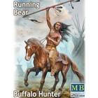 Masterbox Models . MTB 1/24 Running Bear Buffalo Hunter Indian Holding Spear Riding Horse