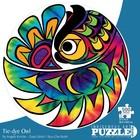 Cap Puzzles . CAP TIE-DYE OWL 500 PIECE ROUND PUZZLE