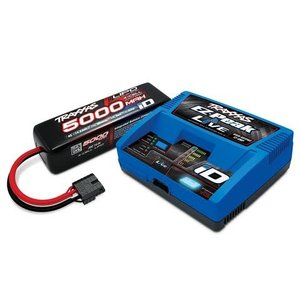 Traxxas Corp . TRA EZ Peak Multi Chemistry Battery Charger (TRA2971) with 1x5000mAh 14.8V 4Cell 25C LiPo Batteries (TRA2889X)