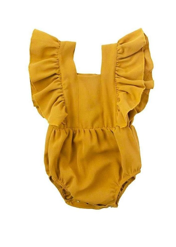 Bailey's Blossoms Holly Ruffle Romper-Mustard