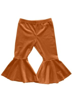 Bailey's Blossoms Velour Bell Bottoms-Camel