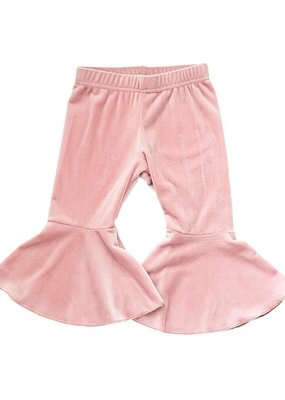 Bailey's Blossoms Velour Bell Bottoms-Pink