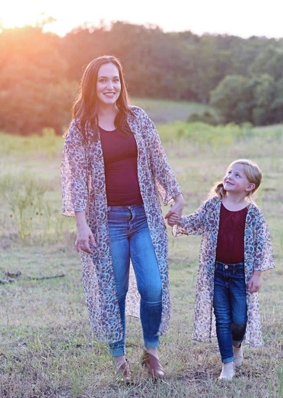Bailey's Blossoms Mommy Duster-Tan Floral
