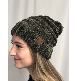 Cheveux Corp Oversized Chenille Beanie-Olive