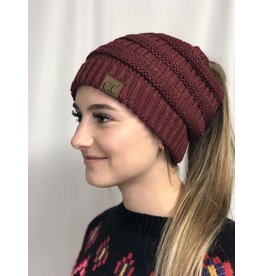 Cheveux Corp Solid Ponytail Beanie