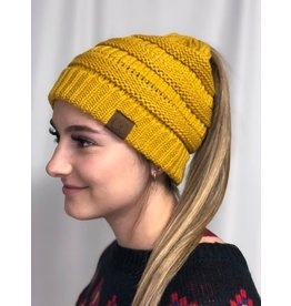 Cheveux Corp Solid Ponytail Beanie- Mustard