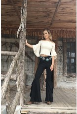 Fashion Express Double Ruffle Bell Bottoms-Blk