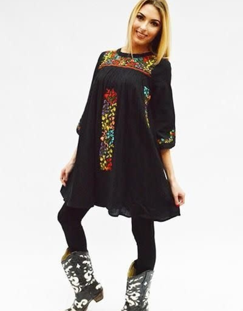 Fashion Express Black Embroidered Dress