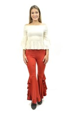 Fashion Express Double Ruffle Bell Bottoms-Red