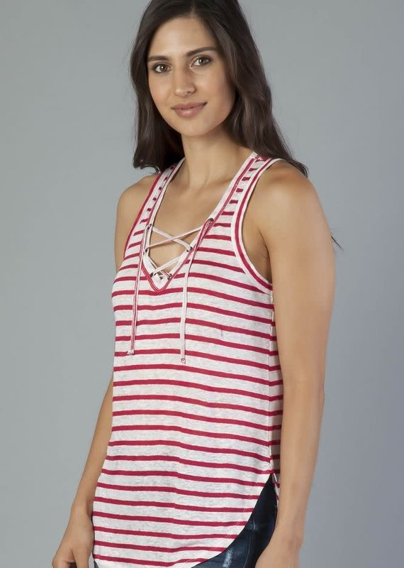 Another Love Mila Stripe Lace Up Tank