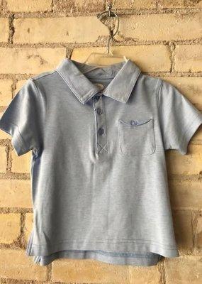 Frenchie Mini Couture Lt Blue Picque Polo Shirt