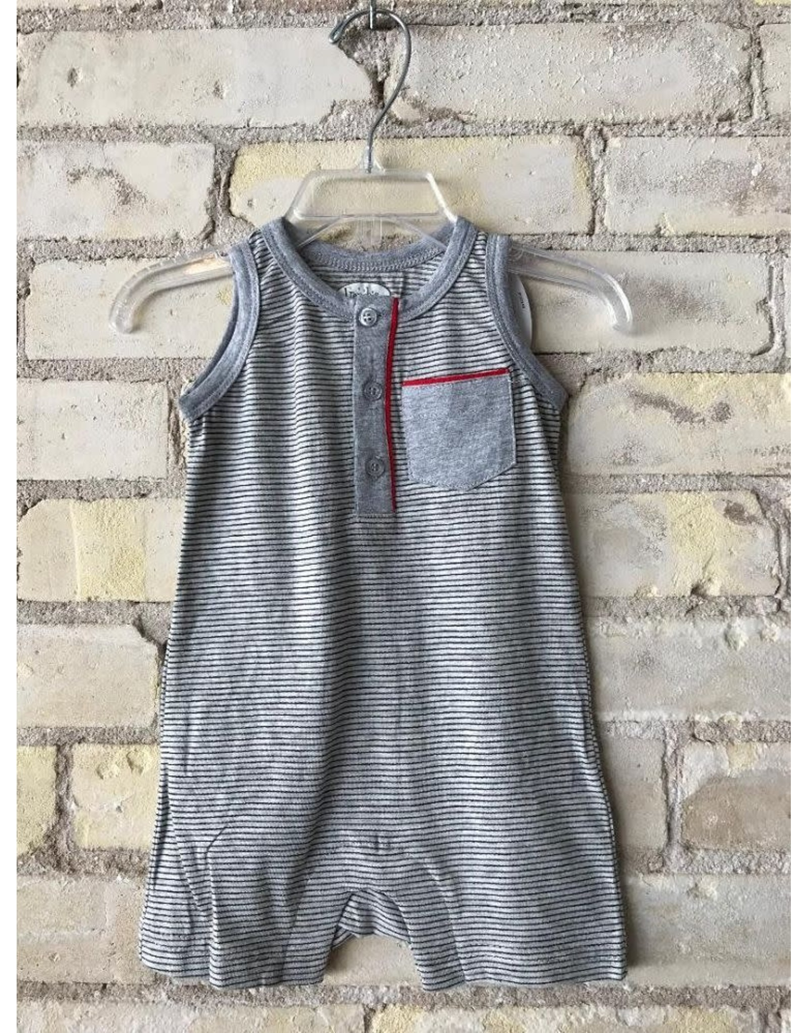 Frenchie Mini Couture Gray and Black Stripe Playsuit