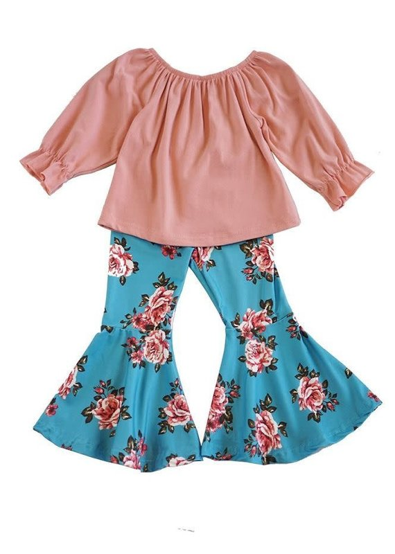 Honeydew Clothing Mint Floral Bell Bottoms