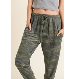 First Love Ribbed Camo Joggers-S