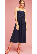 Entro Navy Strapless Wrap-Tie Dress