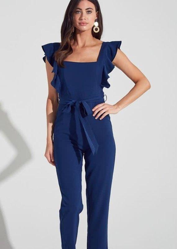 Blue Blush Shoulder Ruffle Jumpsuit