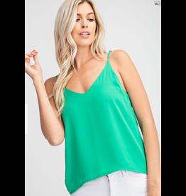 Glam LA V-Neck Adjustable Strap Cami-Kelly Green