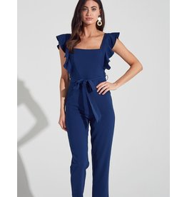 Blue Blush Shoulder Ruffe Jumpsuit