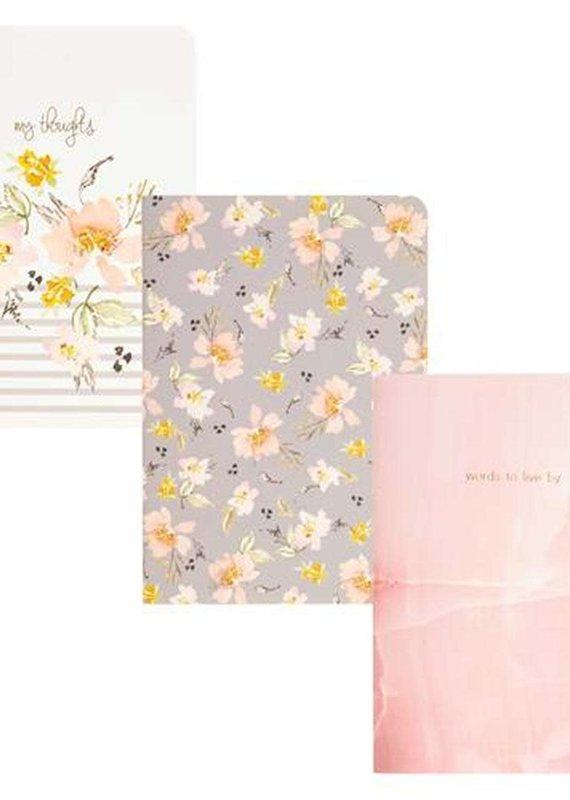 Karma Pocket Notebook-Gray Floral
