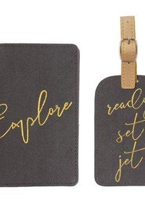 Karma Passport Holder & Luggage Tag-Charcoal