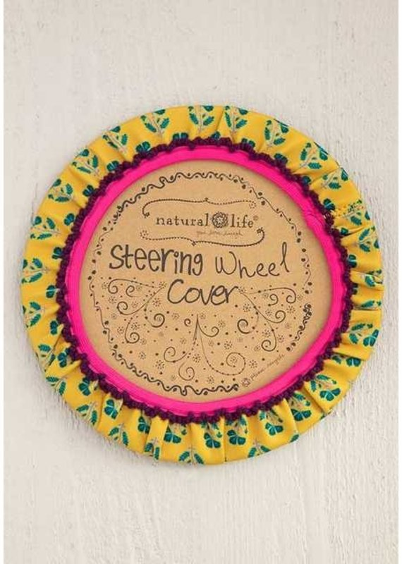 Natural Life Gold/Turq Steering Wheel Cover