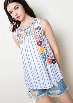 THML Clothing Stripe Embroidered Tank