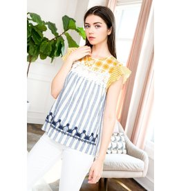 THML Clothing Stripe Embroidered Top