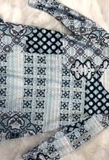 Multiples 3/4 SLV Swing Shape Knit Top- Tile Multi