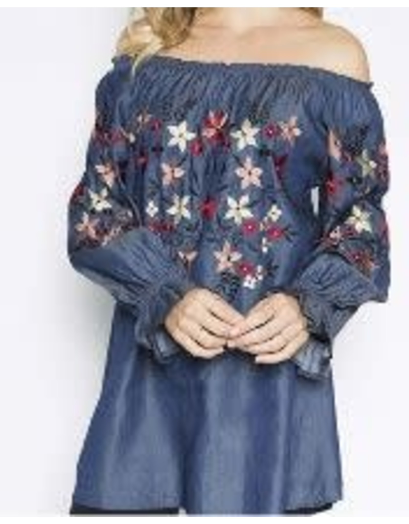 Asha International Emb Off Shoulder Denim Top