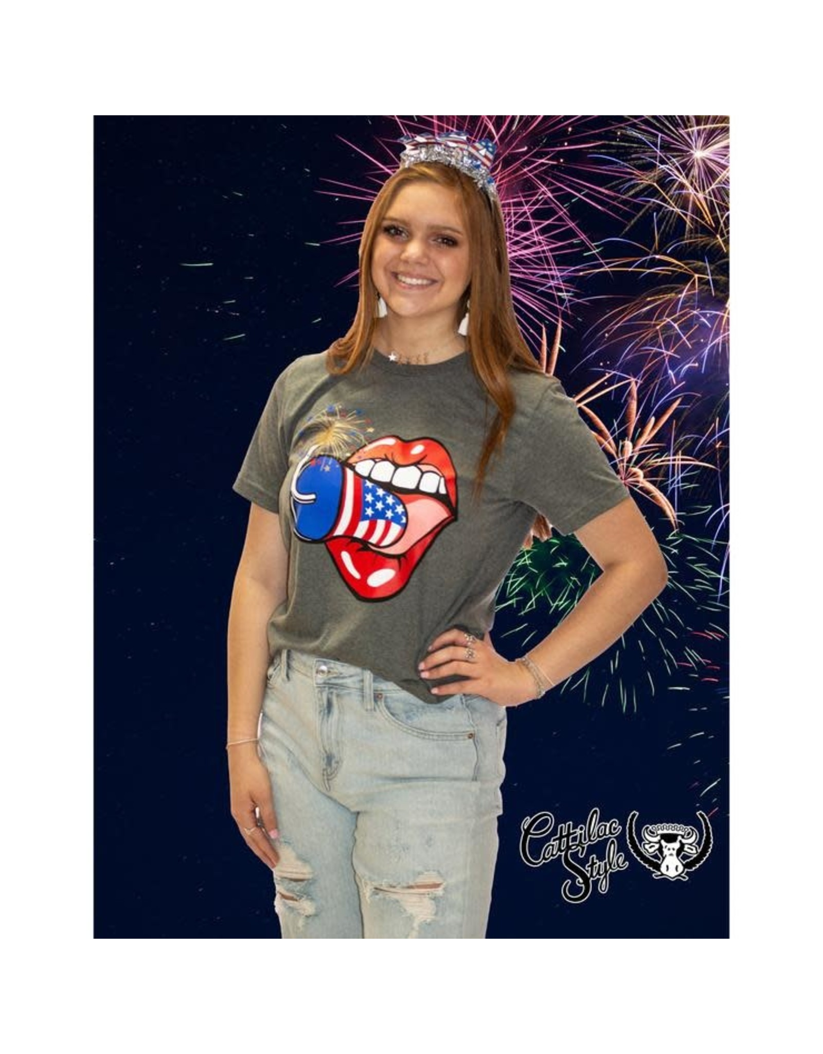 Cattilac Style Firework Mouth Tee