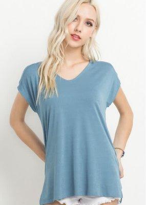 Mittoshop V-Neck Side Slit T-Shirt