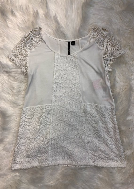 Skye's The Limit White Lace Sleeve Blouse-S