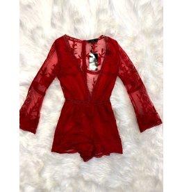 L & B Red Lace Romper-XS