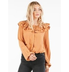 Very J Camel Ruffle Top