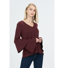 Very J Wine Bell Sleeve Top